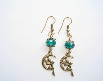 Green fairy on Moon bead pendant earrings