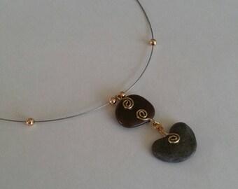 Pebbles, Nature, Unique and original, 2 natural Pebble pendant necklace