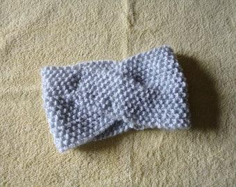 Headband, shake head or silver gray White hand knitted ear warmer