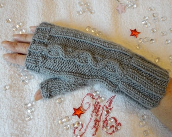 Knit fingerless mittens with thumb knitted mitt woman grey slightly sparkly with cables