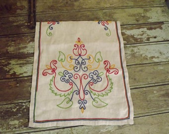RARE Vintage French Linen Embroidered Table Runner, Rustic, Country Dining, Country Kitchen, Decor, Decoration