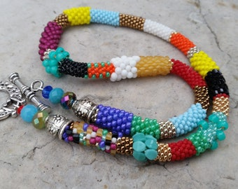 """Technicolor"" multicolored beads necklace"