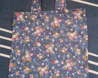 Floral tote bag - light cotton - grocery bag