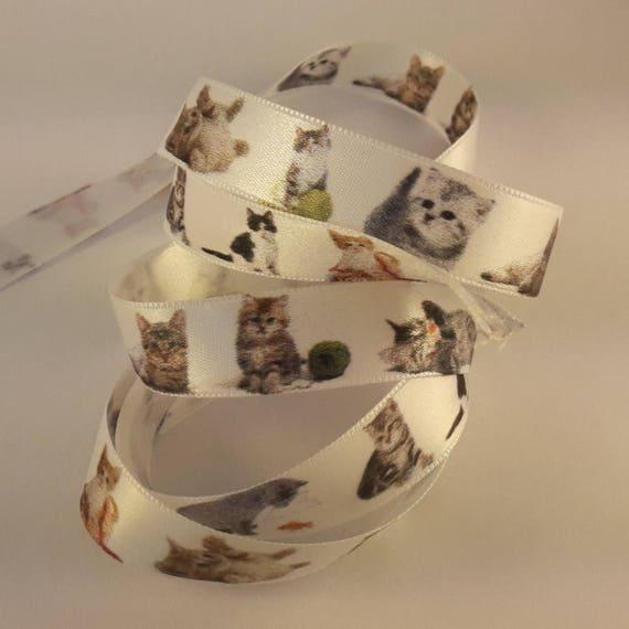 Cat 2cm pattern satin ribbon