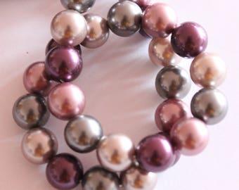 Shell bead, Pearl Mallorca, multicolored, 12 mm, set of 6