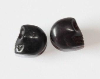 Skull Head, black, 12 mm, the pair