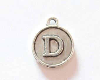 Silver metal charm, letter D, about 15 * 12 * 2 mm
