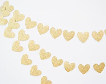 gold heart garland, gold glitter banner, wedding garland, gold wedding decor, bridal shower, gold baby shower, heart bunting, paper heart