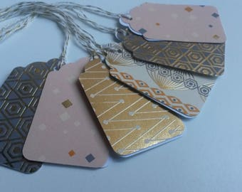 6 etblanc pink Golden Christmas gift tags