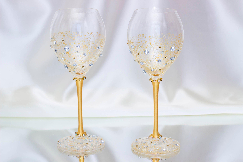 Gold wedding Wine glasses Wedding flutes Wedding toasting glasses ...