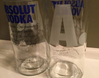 Absolut Vodka cut bottle drinking glasses, set of two