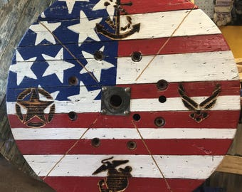 """60"""" Large Wood Spool Wheel USA Flag With Our Armed Forces Handmade"""