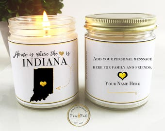 Indiana State Scented Candle //  Moving Gift // Home Is Where the Heart Is // Miss You Gift // Scented Soy Candle // New Home Gift