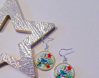 Earrings Blue Bird on a branch