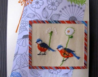 Painting of two birds and two flowers embroidered