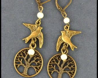 vintage tree bird earrings