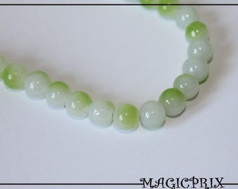 Set of 25 8 mm green tinted glass beads & white 1413