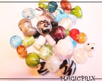 Set of 20 beads hand made Lampwork Glass m2196