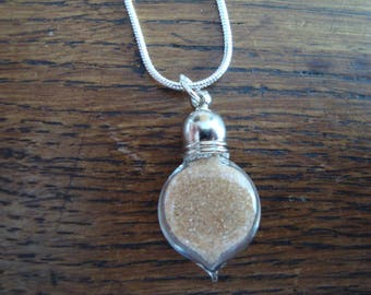 """""""Mauritania"""" chain silver pendant: tiny vial of authentic sand from Mauritania southern desert"""