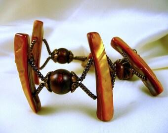 Orange pearl bracelet