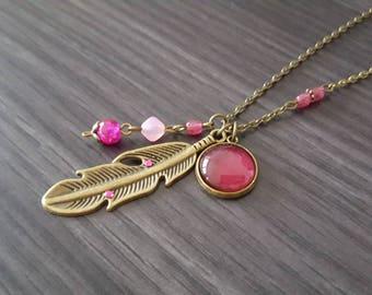 Large Fuchsia feather necklace