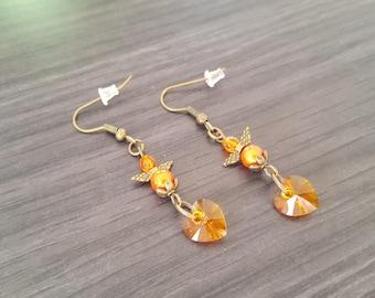Angel heart Orange Earrings