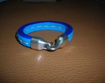 Leather Bracelet Buffalo genuine stitched blue calf