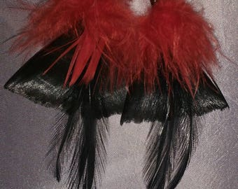 Black and red feather earrings