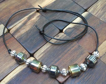 Adjustable Hematite and Silvertone Necklace