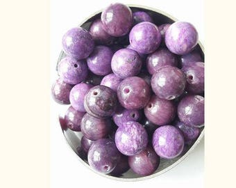 4 purple 10 mm jadeite beads