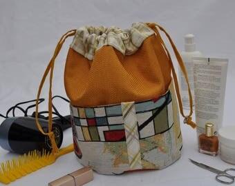 toiletry bag in fabric, creating unique and original