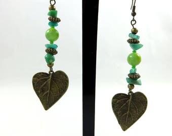 Earrings Spring Green ethnic plant