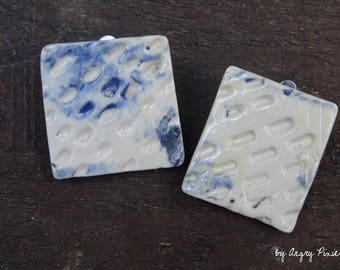 Square ceramic blue and white earrings