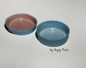 small bright pink and blue China ramekins