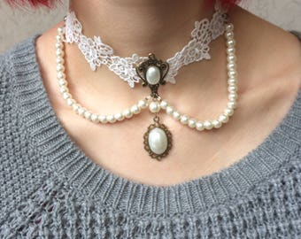 Victorian Lace GothicCameo Choker Adjustable length