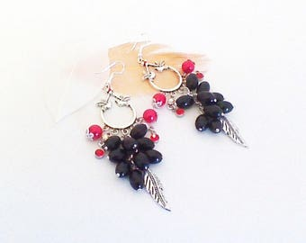 Long earrings with birds 'red and black rhinestone'