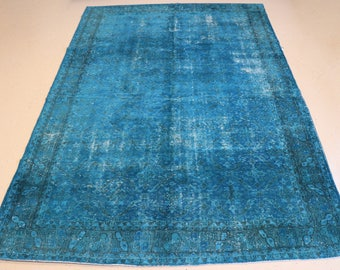 """Vintage Overdyed Turkish Rug, Handmade, Turquoise/ Blue, 8 feet 1 inches by 11 feet 9 inches (8'1""""x11'9"""")"""