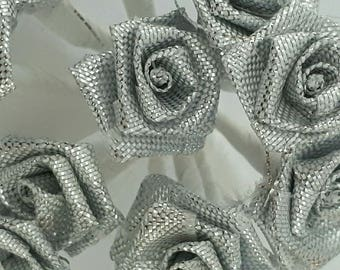set of 12 fabric flowers silver 15 mm 10 cm in length