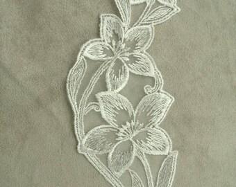 Inlay - white embroidered organza applique