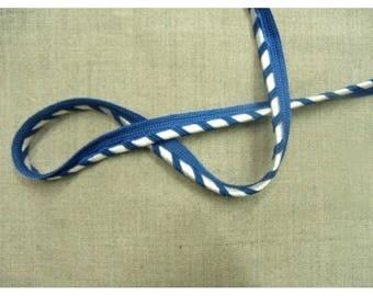 Ribbon piping - 1.2 cm - two-tone - blue & white