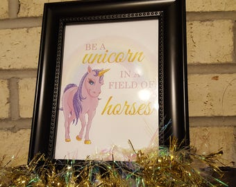 Unicorn sign | Be in Unicorn in a field of horses sign