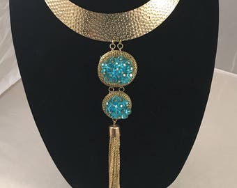 Gold Tone and Blue Necklace