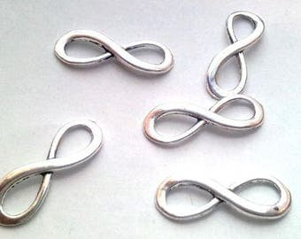 "Set of 30 ""Infinity"" connectors, silver 23x8mm"