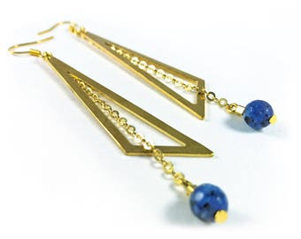 Golden triangle and sodalite stone earrings