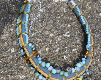 turquoise linen necklace and glass beads
