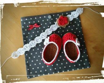 Little ballerinas and matching headband * handmade * crochet