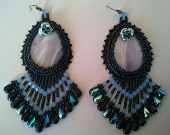 large embroidered earrings