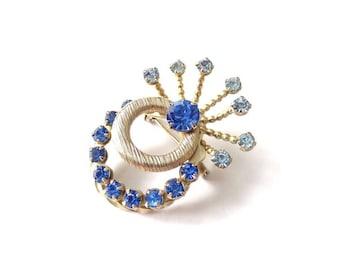 FREE DELIVERY! VINTAGE Mid-Century 1950's Art Deco Revival Blue Rhinestone Brooch