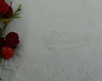 Handkerchief in white embroidery, vintage, embroidered name Henriette vintage hankie handkerchief wedding hankie, naive embroidery, beautiful handkerchief