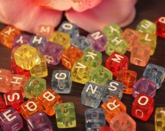 50 acrylic beads Alphabet cubes 10mm multicolored